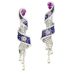 Diamonds Pink Sapphires Blue Earrings