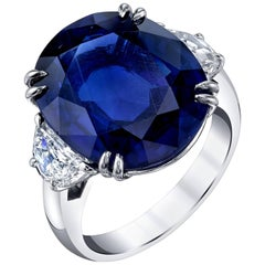 GIA Certified 12.23 Carat Unheated Blue Sapphire and Diamond Platinum Ring