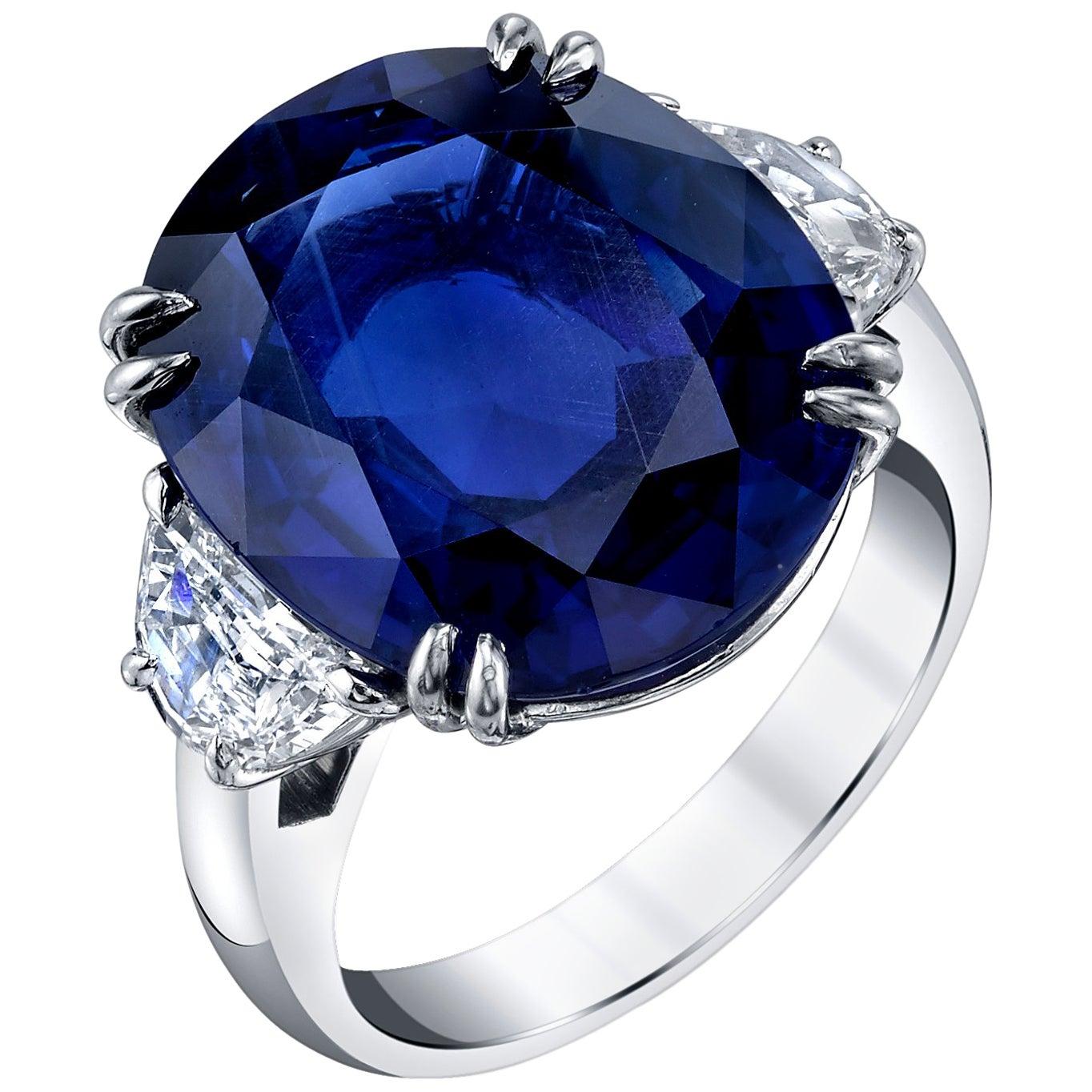 Unheated 12.23 Carat Ceylon Blue Sapphire GIA, Diamond Platinum 3-Stone Ring