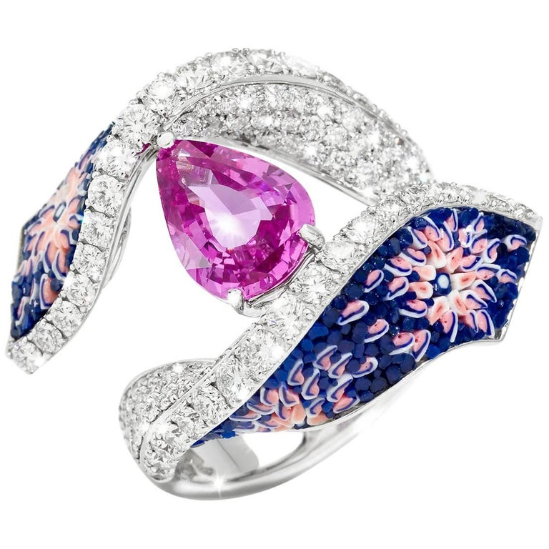 Diamonds Pink Pear Sapphire Micromosaic Blue Ring