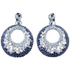 Modern Diamond Blue Sapphire Black Gold Web Earrings