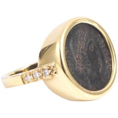Dubini Empires Ancient Bronze Coin Diamond Gold Ring