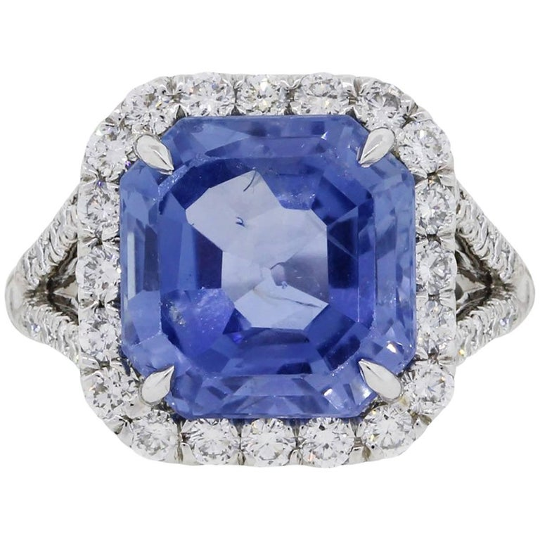 AGL Certified 8.13 Carat Ceylon Sapphire Diamond Ring