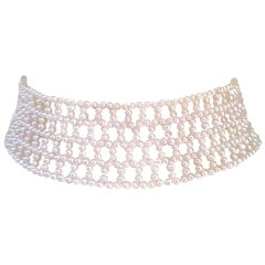 Wide Woven White Pearl Choker with 14k White Gold Plated Silver Clasp