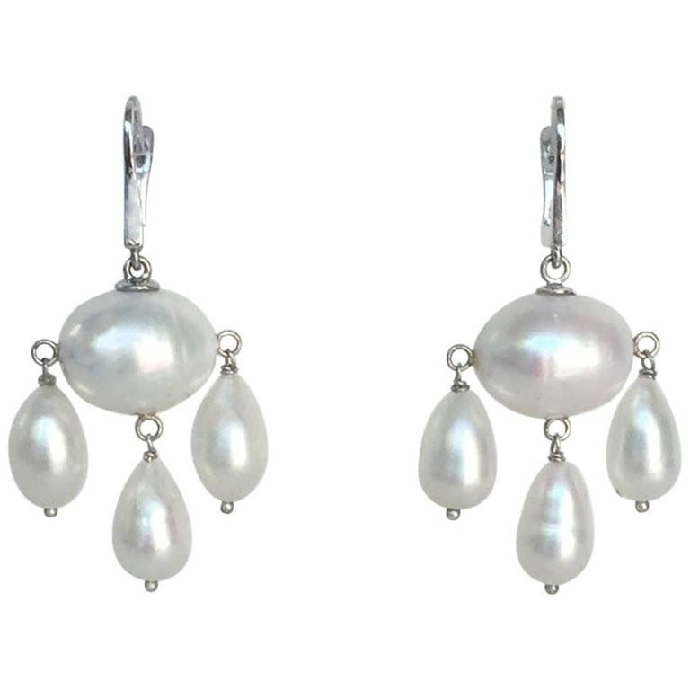 White Baroque Pearl with Pearl Teardrops Dangle Earrings by Marina J