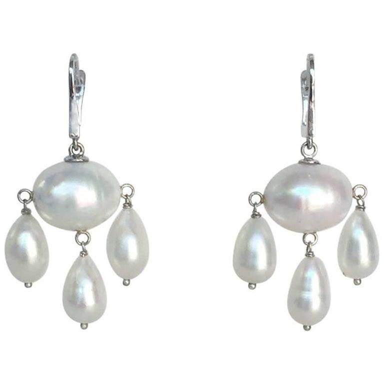 White Baroque Pearl with Pearl Teardrops Dangle Earrings by Marina J