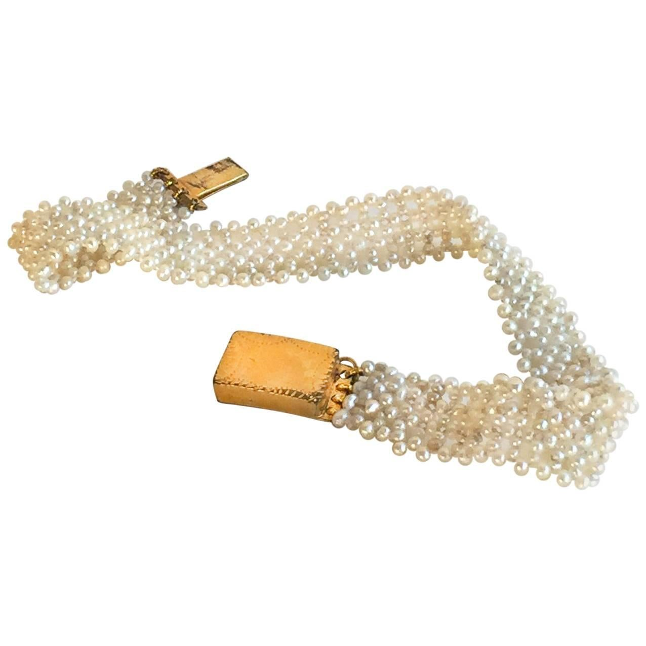 Marina J Woven Seed Pearl Bracelet with Vintage Gold clasp