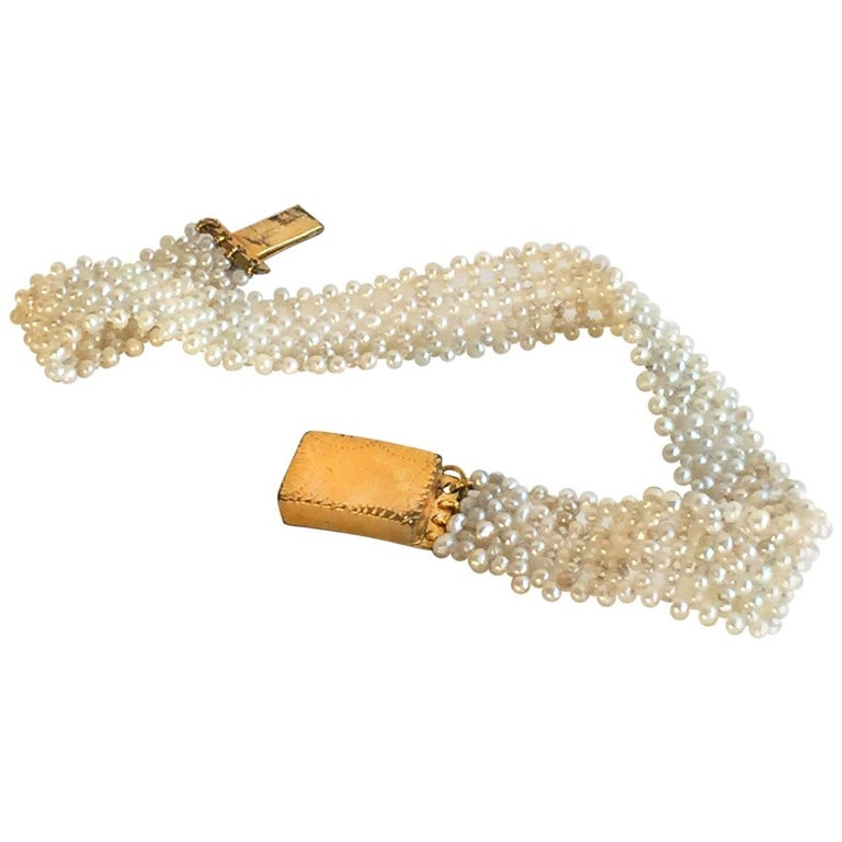 Marina J Woven Seed Pearl Bracelet with Vintage Gold clasp For Sale