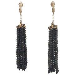Black Spinel Tassel Earrings with 14 Karat Gold Findings by Marina