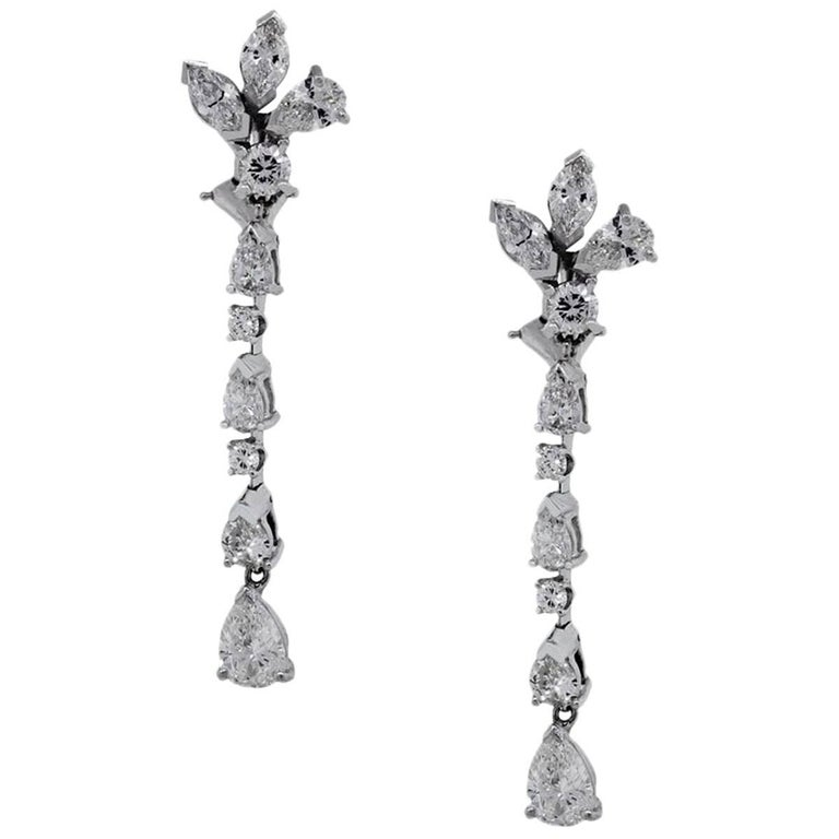 4 Carat Total Diamond Dangle Earrings