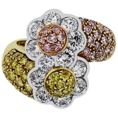 Pink, Yellow and White Diamond Flower Ring