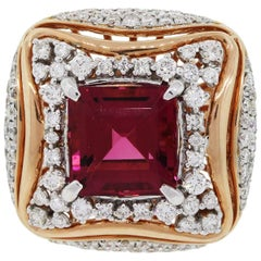 Cushion Cut Rubellite and Diamond Halo Ring