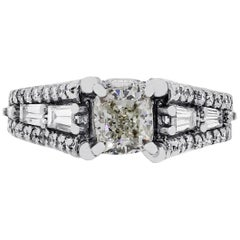 A. Jaffe 1 Carat Cushion Cut Diamond Engagement Ring