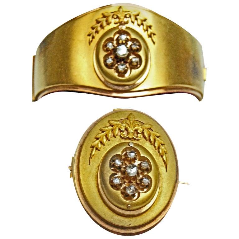 Antique Vienna Austria Gold Diamond Bracelet And Brooch At