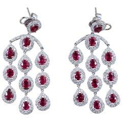 Ruby Diamond Chandelier Gold Drop Earrings