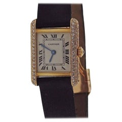 Cartier Ladies Yellow Gold Diamond Tank Quartz Wristwatch