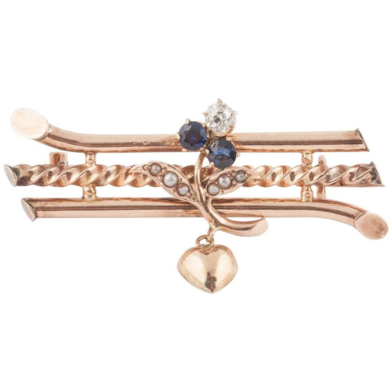 Russian Gold Sapphire and Diamond Brooch with Heart, circa 1900
