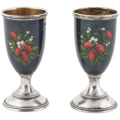 Pair of Russian Enamelled Vodka Cups, 20th Century