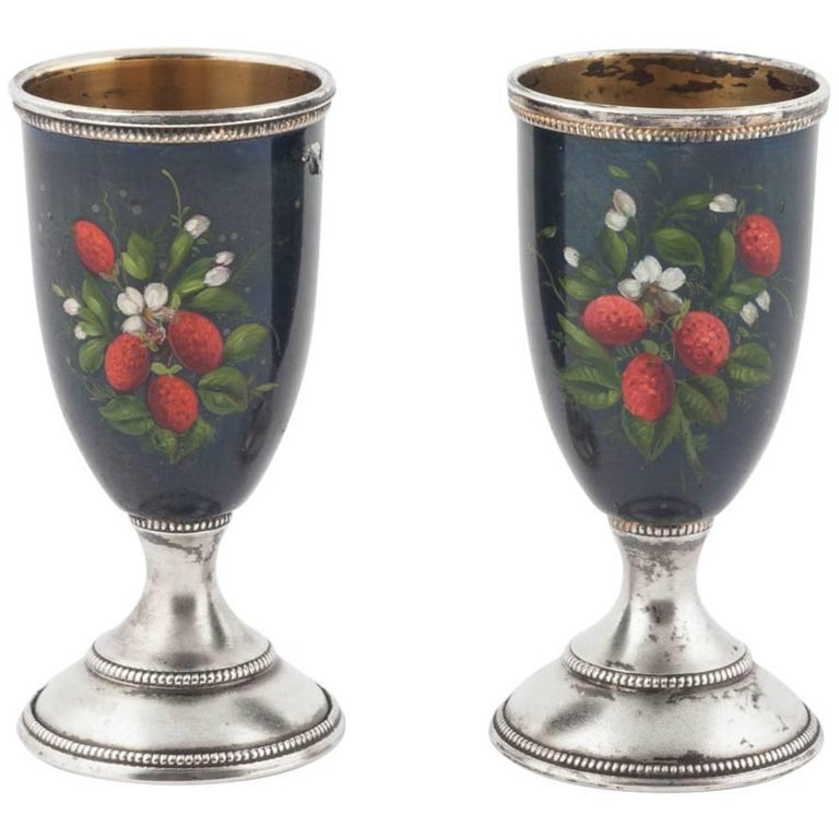 Pair of Russian Enamelled Vodka Cups, 20th Century For Sale