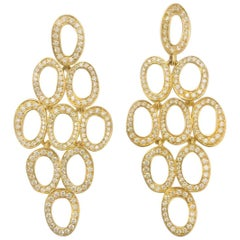 Ippolita Stardust Cascade Earrings 18 Karat Yellow Gold with White Diamonds