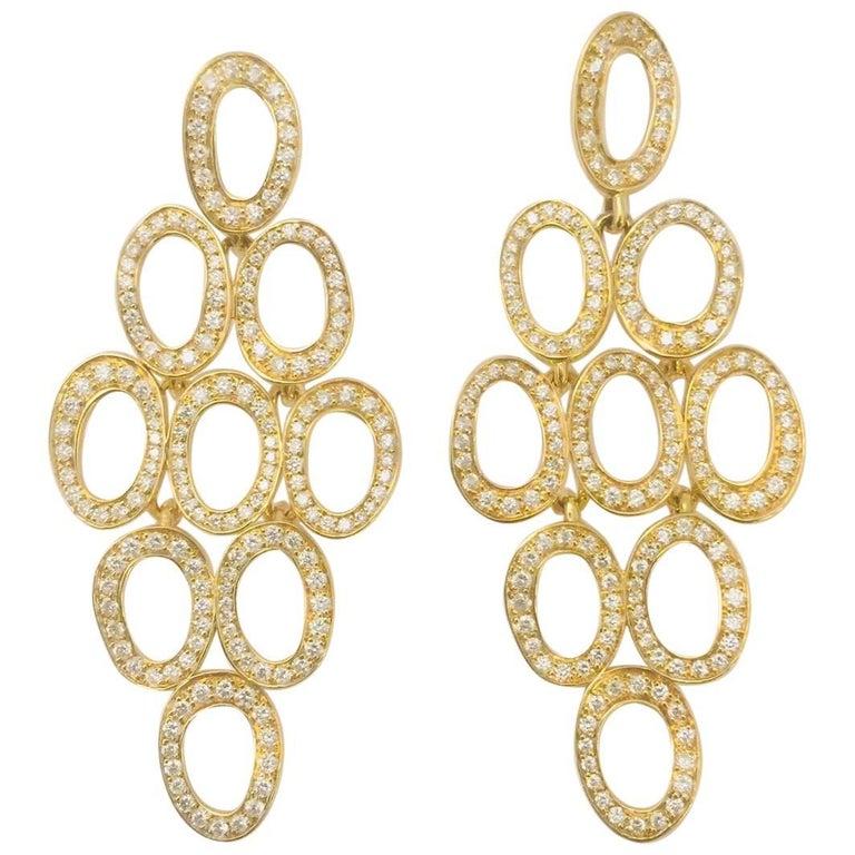 Ippolita Stardust Cascade Earrings 18 Karat Yellow Gold with White Diamonds