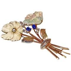 Brooch Flower Bouquet Gold 585 Brilliants 0.30 Carat Sapphires Pearl, Vienna