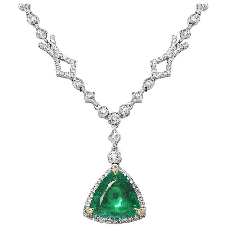 Trillion Cut Emerald Diamond Pendant in White Gold 1