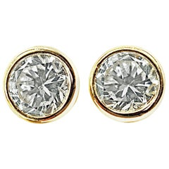 Bright Sparkly White Diamond Gold Stud Earrings