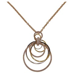 Tri-Colored Diamond Circle Pendant with Chain