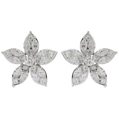 Pear Cluster Diamond Earrings