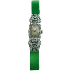 Art Deco Platinum Diamond Emerald Wristwatch, 1920s
