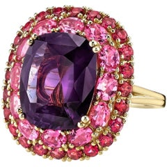 GIA Certified 8.36 Carat Unheated Purplish Pink Sapphire 18 Karat Gold Ring
