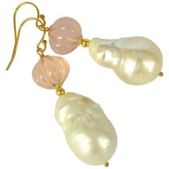 Decadent Jewels Carved Rose Quartz Baroque Pearl Gold Earrings