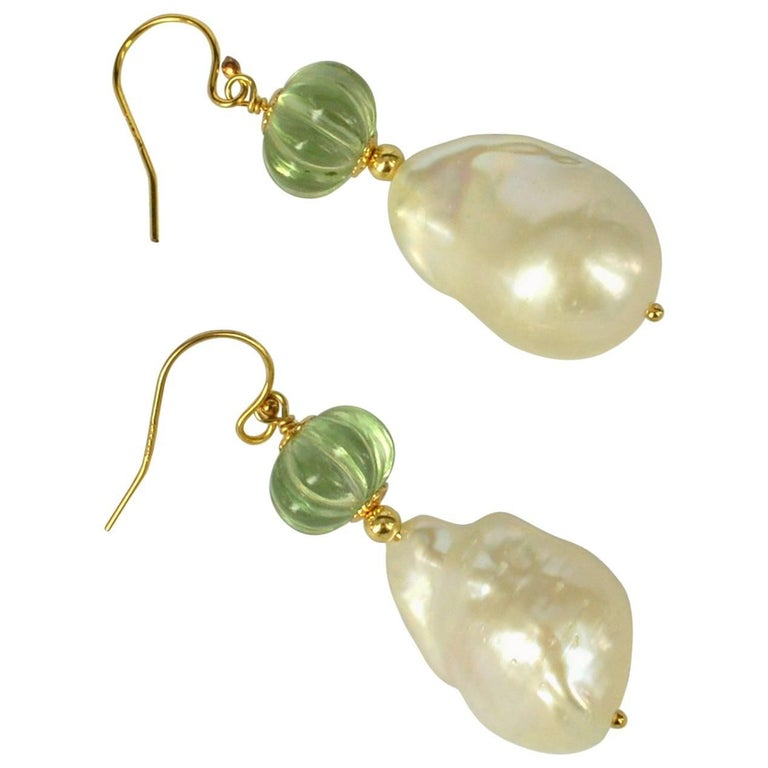 Decadent Jewels Carved Green Amethyst Baroque Pearl Gold Earrings