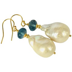 Decadent Jewels London Blue Topaz Baroque Pearl Earrings