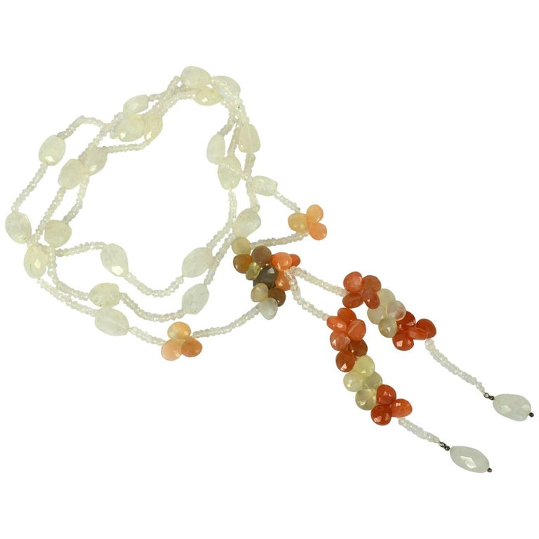 Decadent Jewels Rainbow Moonstone Silver Lariat Necklace For Sale