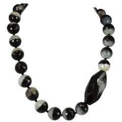 Decadent Jewels Natural Banded Agate Black and White Silver Necklace