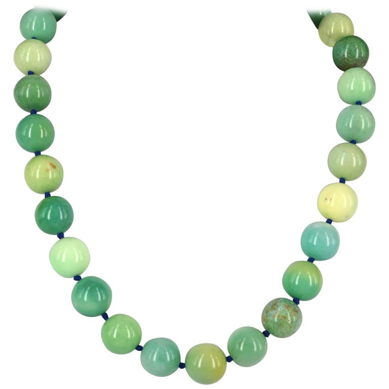 Decadent Jewels Green Grass Agate Silver Necklace