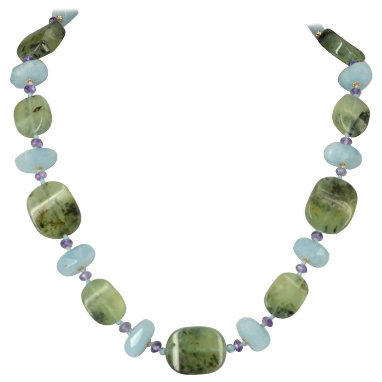Decadent Jewels Prehnite Amethyst Aquamarine Gold Necklace
