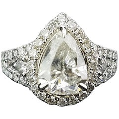 2.18 Carat Pear Shape Diamond Ring