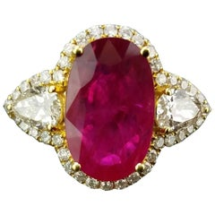 5.87 Carat Oval Mozambique Ruby and Diamond 18 Karat Gold Engagement Ring