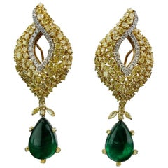 Detachable Emerald Pear Shape Cabochon and Yellow Diamond Earring