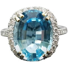 Oval Blue Topaz and Diamond Cocktail Ring
