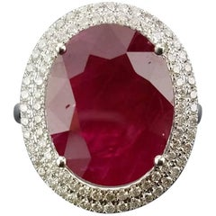 8.58 Carat Oval African Ruby and Diamond Cocktail Ring