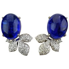 Oval Cabochon Tanzanite and Diamond 18 Karat Gold Stud Earrings