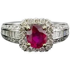 Oval Ruby and Diamond Band Ring