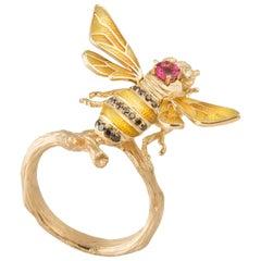 18 Karat Gold Pink Tourmaline, Black and Yellow Diamond Enamel Bee Gold Ring