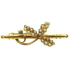 Antique Victorian Pearl Oakleaf and Acorn Gold Brooch, 15 Carat Gold
