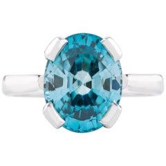 Kian Design 18 Carat White Gold 7.71 Carat Blue Zircon Dress Ring