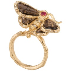 18 Karat Ruby, Smoky Quartz, White and Brown Diamond Moth Yellow Gold Ring